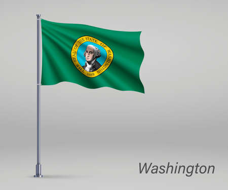 Waving flag of Washington - state of United States on flagpole. Template for independence day poster