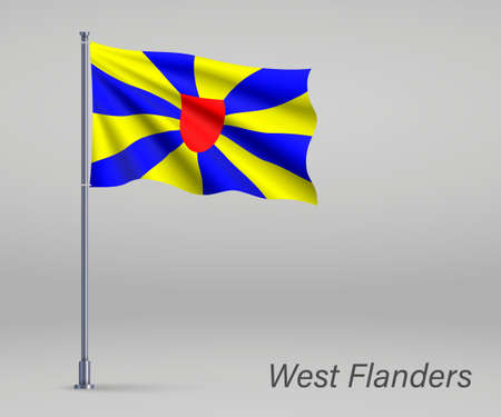 Waving flag of West Flanders - province of Belgium on flagpole. Template for independence day Ilustração