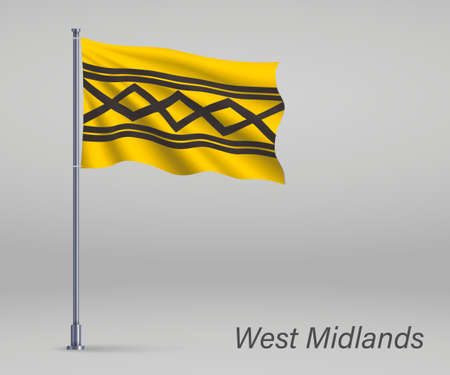 Waving flag of West Midlands - county of England on flagpole. Template for independence day