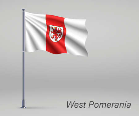 Waving flag of West Pomerania Voivodeship - province of Poland on flagpole. Template for independence day
