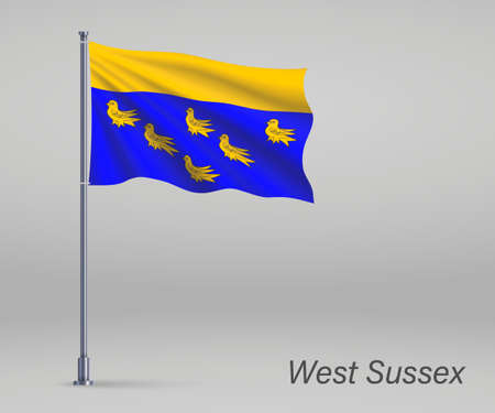 Waving flag of West Sussex - county of England on flagpole. Template for independence day