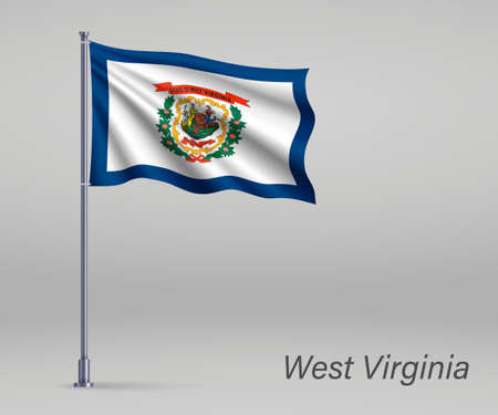 Waving flag of West Virginia - state of United States on flagpole. Template for independence day poster Ilustração