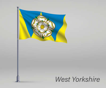 Waving flag of West Yorkshire - county of England on flagpole. Template for independence day