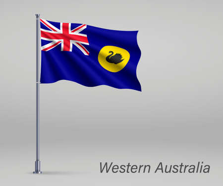 Waving flag of Western Australia - state of Australia on flagpole. Template for independence day Ilustração