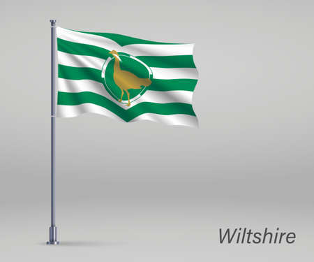 Waving flag of Wiltshire - county of England on flagpole. Template for independence day