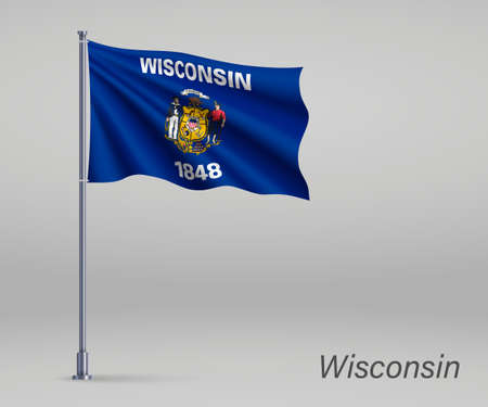 Waving flag of Wisconsin - state of United States on flagpole. Template for independence day poster
