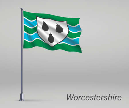 Waving flag of Worcestershire - county of England on flagpole. Template for independence day