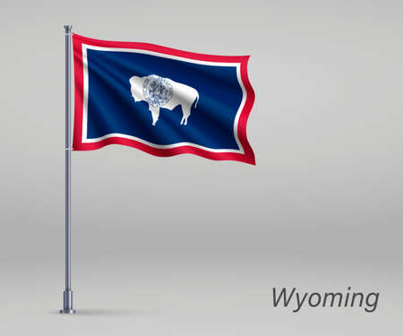 Waving flag of Wyoming - state of United States on flagpole. Template for independence day poster Ilustração