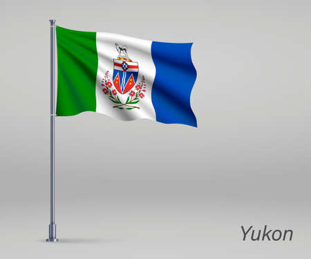 Waving flag of Yukon - province of Canada on flagpole. Template for independence day poster