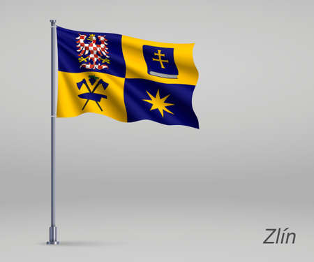 Waving flag of Zlin - region of Czech Republic on flagpole. Template for independence day Ilustração