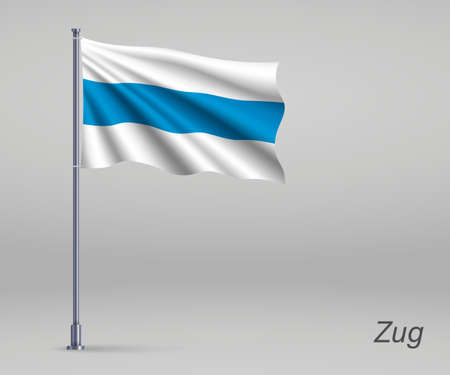 Waving flag of Zug - canton of Switzerland on flagpole. Template for independence day