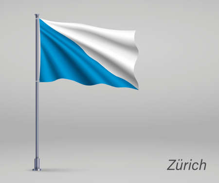 Waving flag of Zurich - canton of Switzerland on flagpole. Template for independence day