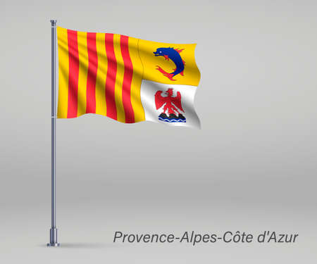 Waving flag of Provence-Alpes-Cote d'Azur - region of France on flagpole. Template for independence day Ilustracja