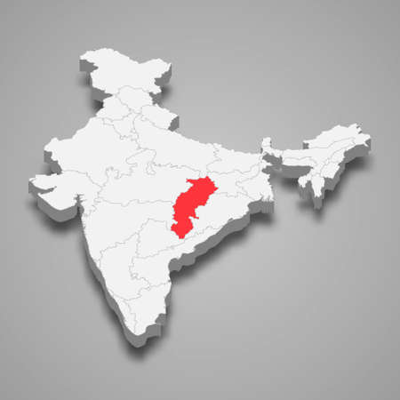 Chhattisgarh state location within India 3d isometric map