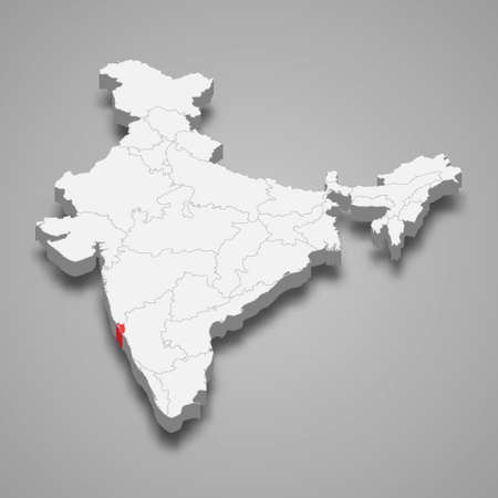 Goa state location within India 3d isometric map Векторная Иллюстрация