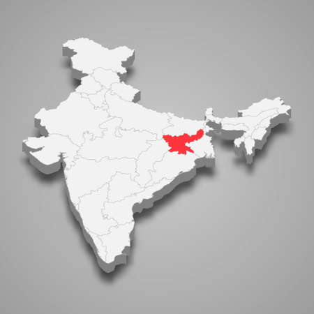 Jharkhand state location within India 3d isometric map