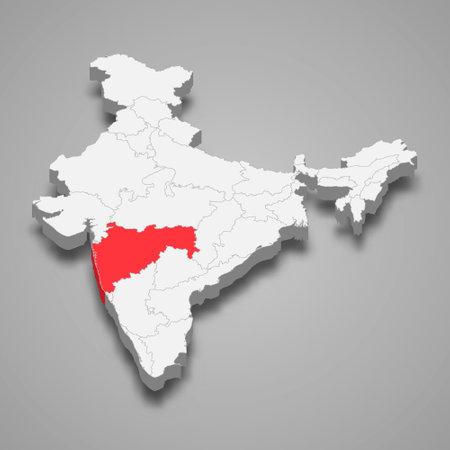 Maharashtra state location within India 3d isometric map