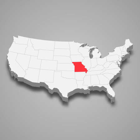 Missouri state location within United States 3d map