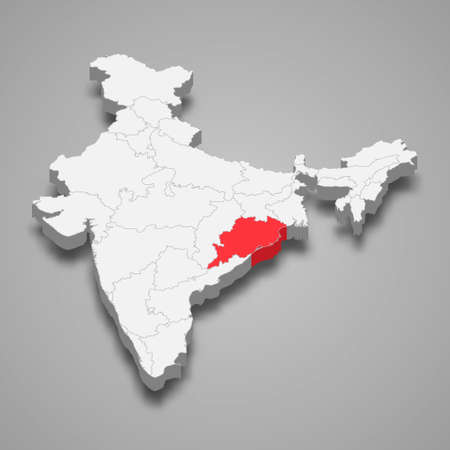 Odisha state location within India 3d isometric map Векторная Иллюстрация