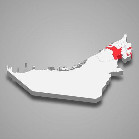 Sharjah emirate location within United Arab Emirates 3d isometric map