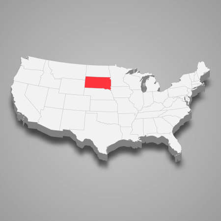 South Dakota state location within United States 3d isometric map