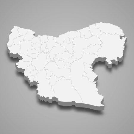 3d isometric map of Aleppo is a province of Syria, vector illustration Ilustración de vector