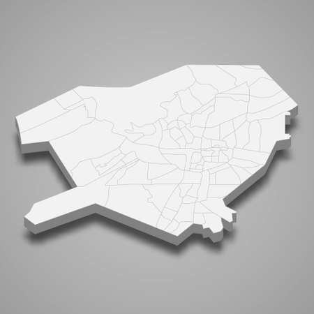 3d isometric map of Damascus is a province of Syria, vector illustration