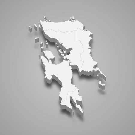 3d isometric map of Eastern Visayas is a region of Philippines, vector illustration