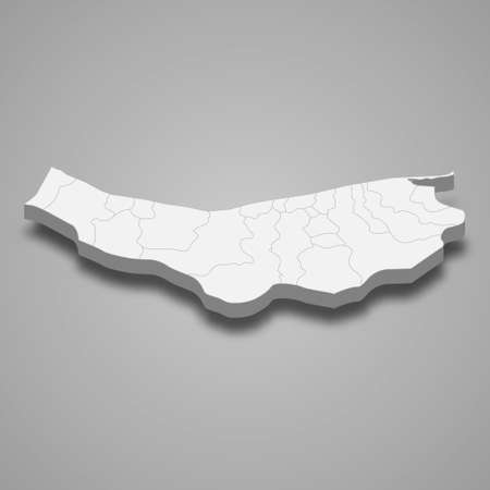 3d isometric map of Mazandaran is a province of Iran, vector illustration