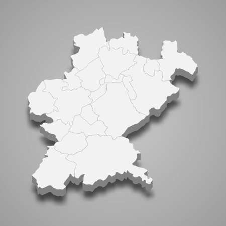3d isometric map of Santarem is a district of Portugal, vector illustration