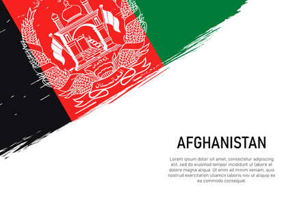 Grunge styled brush stroke background with flag of Afghanistan. Template for banner or poster.