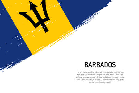 Grunge styled brush stroke background with flag of Barbados. Template for banner or poster.