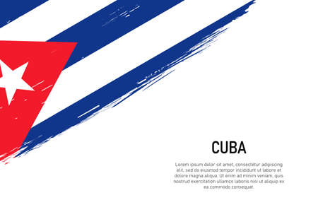 Grunge styled brush stroke background with flag of Cuba. Template for banner or poster.