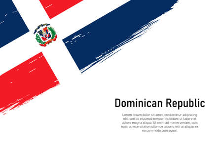 Grunge styled brush stroke background with flag of Dominican Republic. Template for banner or poster.