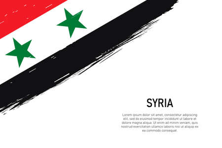 Grunge styled brush stroke background with flag of Syria. Template for banner or poster.