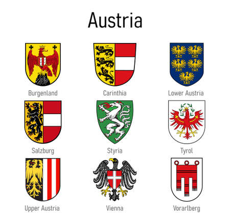 Coat of arms of the states of Austria, All Austrian regions emblem collection