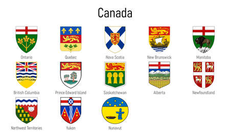 Coat of arms of the provinces of Canada, All Canadian regions emblem collection