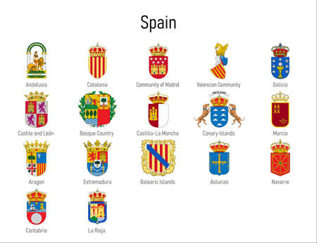 Coat of arms of the communities of Spain, All Spanish regions emblem collection
