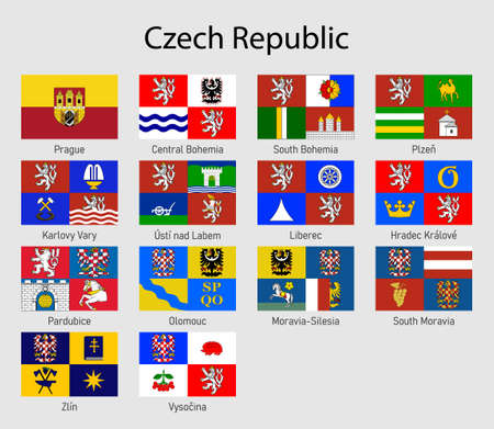 Set Flags of the provinces of Czech Republic. All Czechia regions flag collection