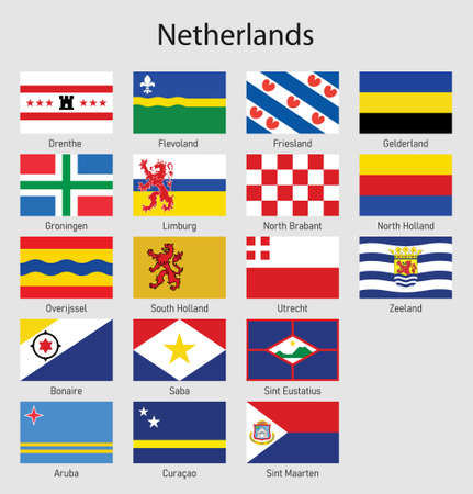 Set Flags of the provinces of Netherlands, All Dutch regions flag collection
