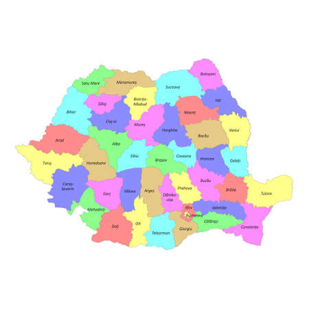 High quality colorful labeled map of Romania with borders of the regions