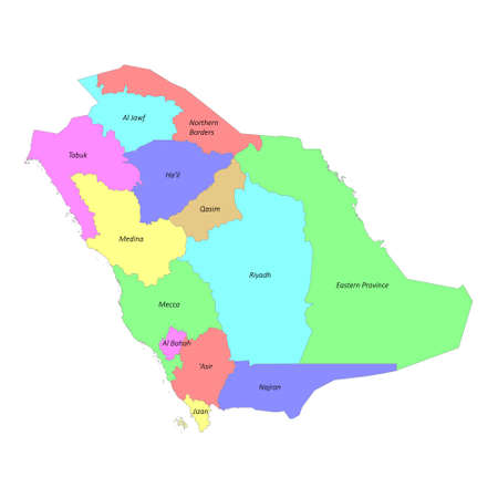High quality colorful labeled map of Saudi Arabia with borders of the regions