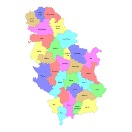 High quality colorful labeled map of Serbia with borders of the regions