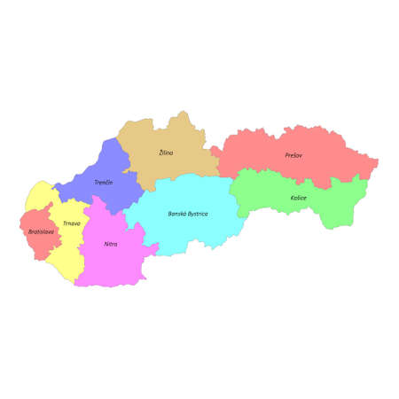 High quality colorful labeled map of Slovakia with borders of the regions 矢量图像