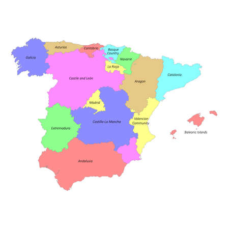 High quality colorful labeled map of Spain with borders of the regions 矢量图像