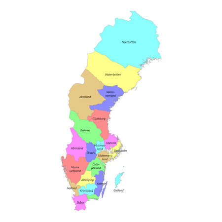 High quality colorful labeled map of Sweden with borders of the regions