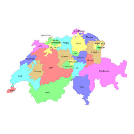 High quality colorful labeled map of Switzerland with borders of the cantons