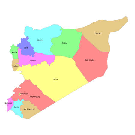 High quality colorful labeled map of Syria with borders of the regions Ilustración de vector