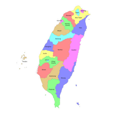 High quality colorful labeled map of Taiwan with borders of the regions