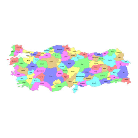 High quality colorful labeled map of Turkey with borders of the regions
